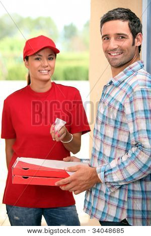 Woman delivering pizza