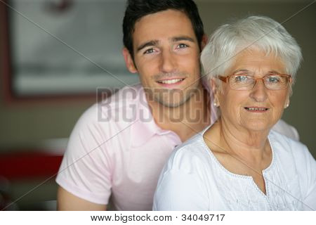 Grandson visiting grandmother