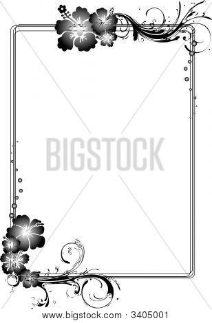 Gray Rectangular Hibiscus Flowery Frame
