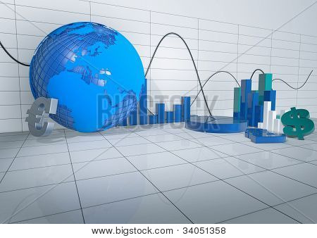 3D Abstract Room With Economy Releated Objects
