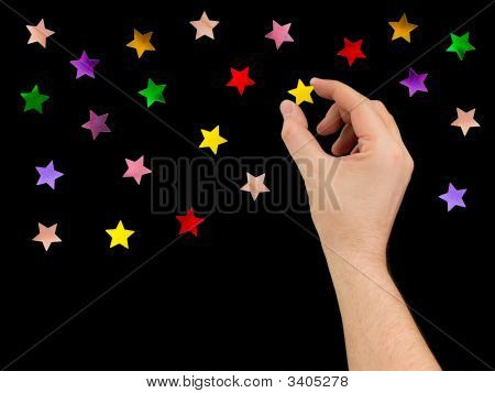 Hand Put Star To Night Sky