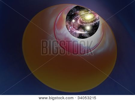 Vision Of Night Sky - Expanding Outer Space Containing Galaxy, Milkyway With Nebula, Stars, Planets