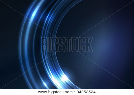 Overlying semitransparent ring segments with light effects form a blue glowing circular frame on dark background giving it a neon effect. Space for your message.