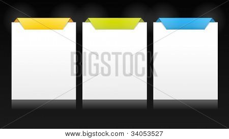 Set of vector cards with origami style top for multiple options, product versions, etc. on dark background. Stylish and  trendy for your web usage, product comparison or business presentation.