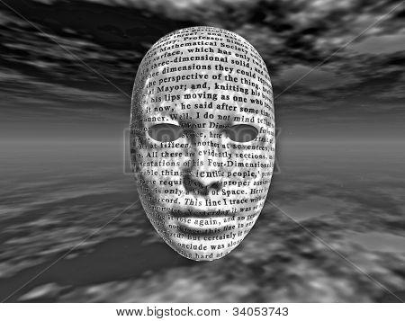 Rostro surrealista con texto es de HG wells la máquina del tiempo es de dominio público y no hay ninguna