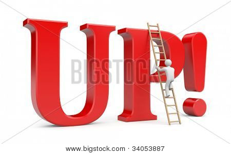 Person climb on UP! word. Success metaphor. Image contain clipping path