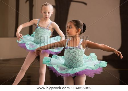 Cute Ballet Students Twirling