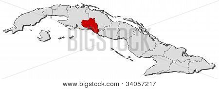 Map Of Cuba, Cienfuegos Highlighted