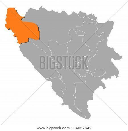 Map Of Bosnia And Herzegovina, Una-sana Highlighted