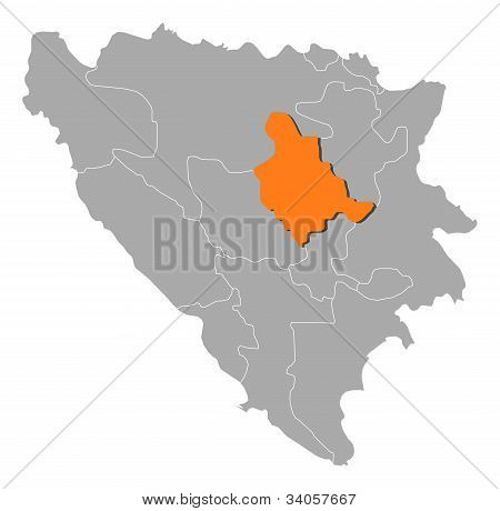 Map Of Bosnia And Herzegovina, Zenica-doboj Highlighted