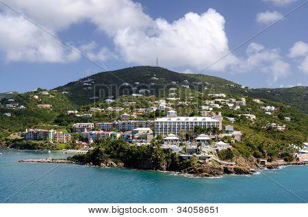 Island scene at Charlotte Amalie, St. Thomas, US Virgin Islands.