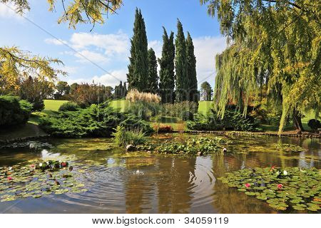 Beautiful park Sigurta in northern Italy. Weeping willows and cypresses in a quiet pond