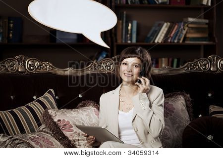 Business woman with blank of thought and speech / talking  bubble