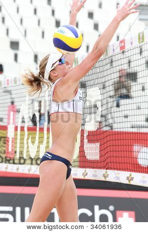 MOSCOW, RUSSIA - JUNE 8: Jennifer Kessy and April Ross, USA vs Emilia and Erika (pictured) Nystrom, Finland, during Beach Volleyball Swatch World Tour in Moscow, Russia at June 8, 2012