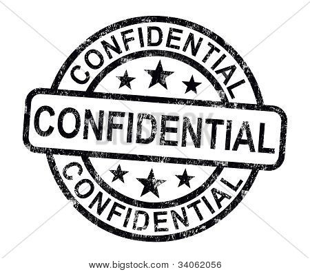 Confidential Stamp Shows Private Correspondence Or Documents