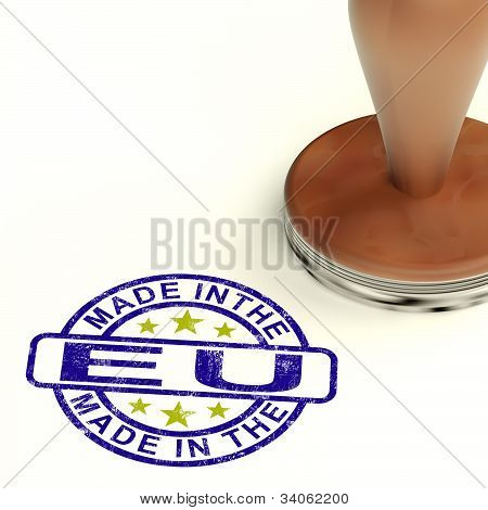 Made In The Eu Stamp Showing Product Or Produce From The European Union