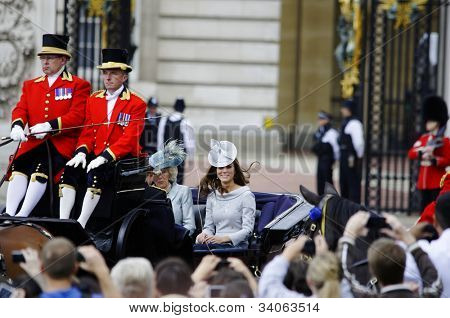 LONDON, UK - JUNE 16: The Duchess of Cambridge and the Duchess of Cornwall during Trooping the Colour ceremony, on June 16, 2012 in London.