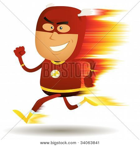 Comic Fast Running Superhero