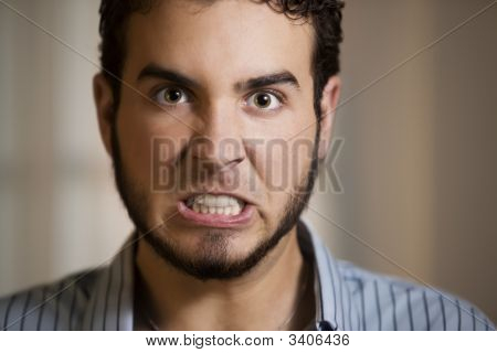 Young Man With Clenched Teeth