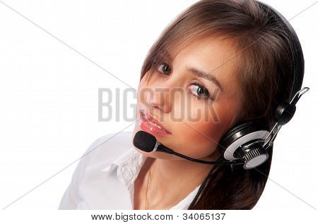 Beautiful Woman With Headset Smiling