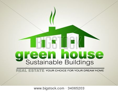 Green Eco sustainable  house icon to use for real estate flyers or posters.
