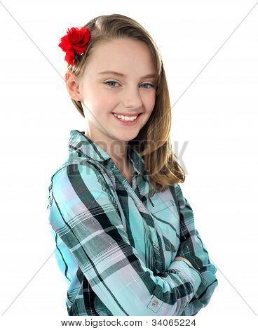 Closeup Portrait Of Smiling Beautiful Girl