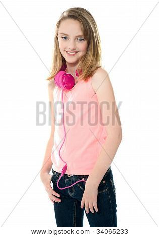 Stylish Trendy Girl With Headphones