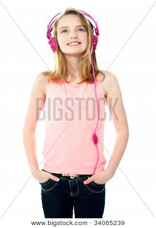 Adorable Girl Tuned Into Music