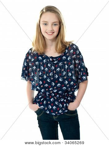 Stylish Girl Posing With Hands In Pocket