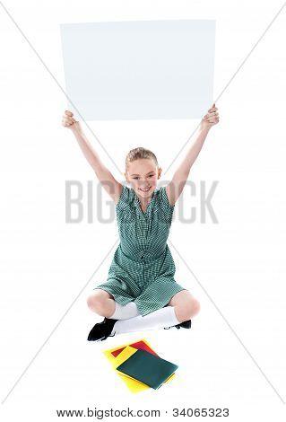 Attractive Girl Displaying Whiteboard
