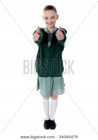 Double Thumbs Up By Young American Girl