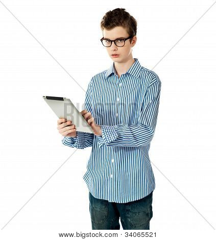 Boy Holding Electronic Tablet