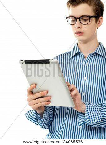 Stylish Boy Using Touchpad Device