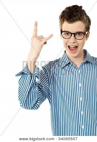 Boy With A Trendy Yo Gesture