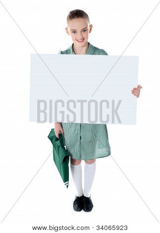 Cute School Girl With An Advertising Board