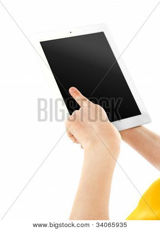 Boys Finger On Electronic Digital Frame