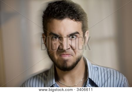 Angry Young Man With Motion Effect