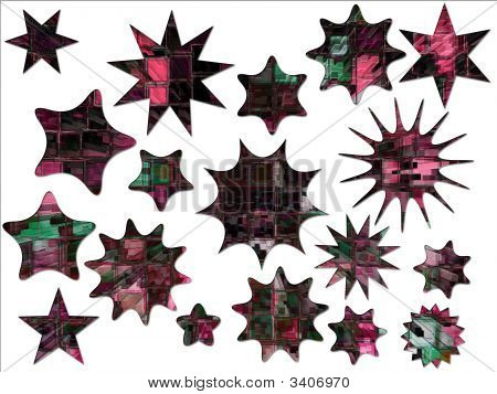Digital High Rise Buildings Abstract Stars And Special Offer Stickers
