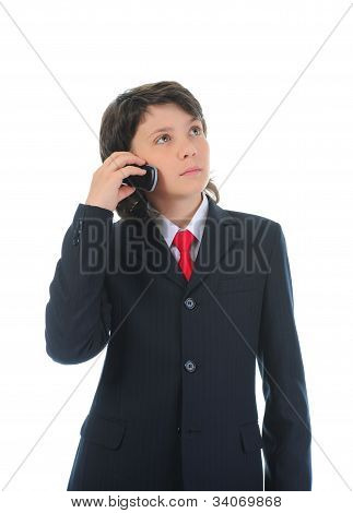 boy talking on the phone.