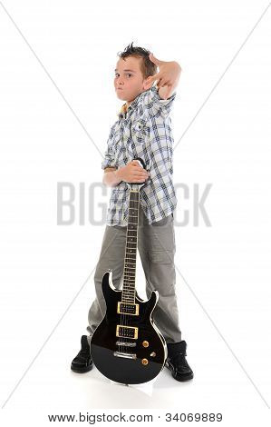 Little musician playing guitar