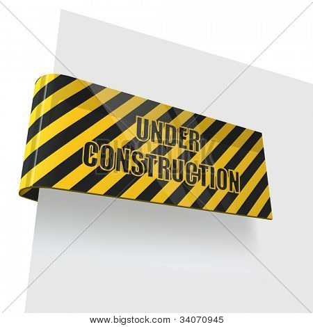 Under construction tag bent round white page. Eps10 file.