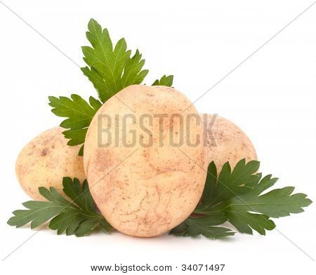 potato and parsley leaves isolated on white background cutout