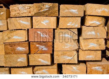 Stack Of Lumber In Timber Logs Storage