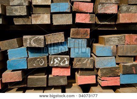 Stack Of Lumber In Timber Logs Storage