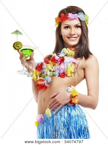 Young woman in  costume of hawaii drinking .