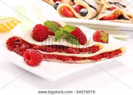 Delicious raspberry pancakes