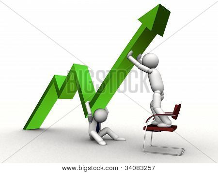 3d green arrow up in business graph