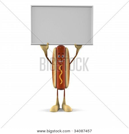 A hot dog character