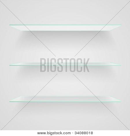 Glass shelves on light grey background. Raster copy of vector illustration