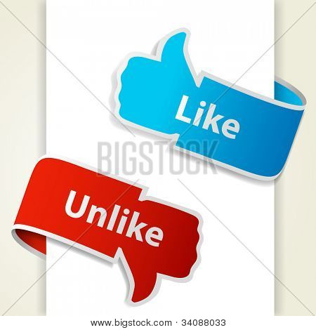 Like and unlike icons. Thumb up and thumb down signs for blogs and websites. Raster copy of vector illustration